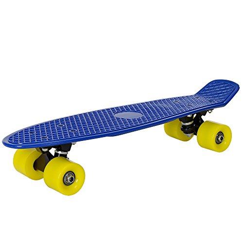 [pro.tec] Skateboard Mini Cruiser Board in Blau-Gelb für Kinder ab 5 und 6 Jahre / Retro Design (57 x 15 x 12cm) - Pennyboard für Kids und Anfänger mit ABEC 7 Kugellager