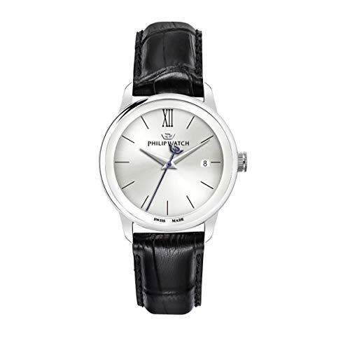 Philip Watch Montre pour homme, Collection Anniversary, mouvement à quartz, à trois aiguilles avec date, en cuir et acier - R8251150005