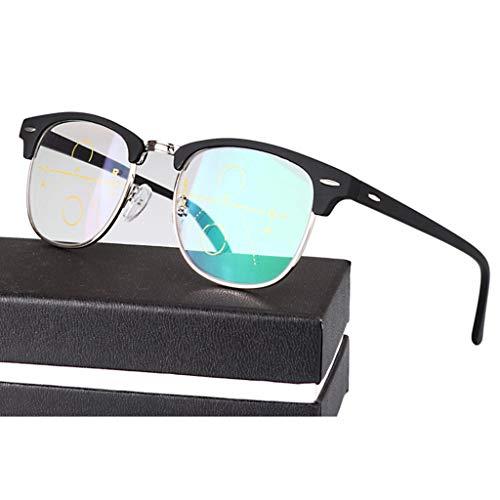 ZY Reading Glasses Retro Progressive Multi-Fokus-Lesebrille, Nicht verschreibungspflichtiges Federscharnier Fern und Nah Dual-Use-Sonnenbrillen, Strahlenschutz/UV-Schutz - für Männer/Frauen