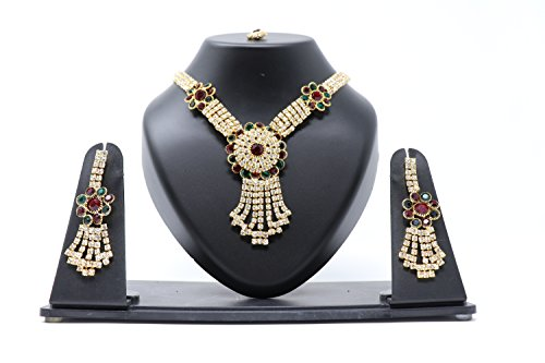 Crown Inglis Lady Exclusive Traditional Immitation Jewellery Gold American Diamond Plated Golden Brass Earrings Drop Earring Imitation Stone Mangalsutra Necklace Set Black Bead Chain for Women