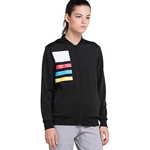 Vansydical Donna moda Casual manica lunga stampa Sport Trekking Campeggio all'aperto Baseball giacca cappotto nero (XXL)