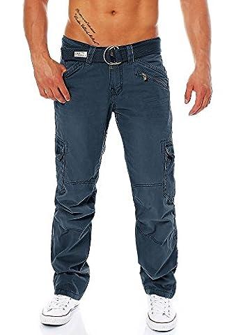 Timezone Herren Cargo Hose 26-0155 Benito mit Gürtel mood indigo 38/32