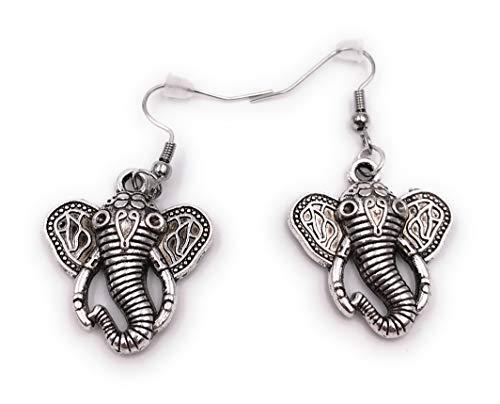 Onlineworld2013 Pendientes Par de Elefantes con Colmillos Pendientes de aretes de Metal