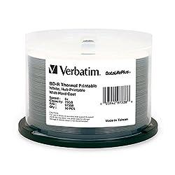 Verbatim DataLifePlus 25 GB 6x Blu-ray Single-Layer Recordable White Thermal, Hub Printable Disc BD-R (50-Disc Spindle) 97338
