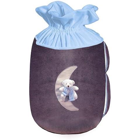 Câlin Câline Gabriel 403.32 - Bolsa para guardar juguetes, diseño con luna osito de peluche, color azul, violeta y