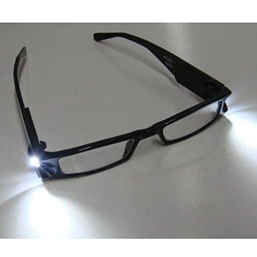 Skitic LED-Leselicht Brille Lesebrille, Unisex Modische Rahmen Brille Sehstärken Lesehilfe mit Zuschaltbarem LED Licht Beleuchtete für Damen Herren Reader +1,0 +1,5 +2,0 +2,5 +3,0 +3,5 +4,0 Dioptrien - Schwarz (Herren-kleines Licht)