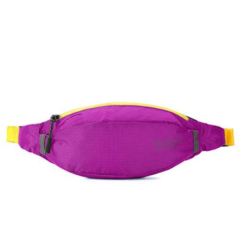 GXYLLDS Waist Pack Sport Running Fitness Viajes Música Impermeable Seguridad Noche Reflectante Bolsa De Teléfono Móvil Hombres Y Mujeres Correa Para Correr,Purple-OneSize