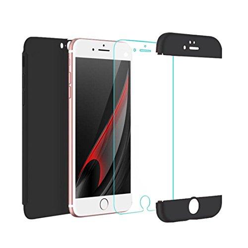 iPhone 6 Plus Custodia iPhone 6S Plus Cover,2ndSpring 360 Gradi della copertura completa 3 in 1 Hard PC Case Cover con Protezione Dello Schermo di Vetro Temperato,Ultra Sottile Anti-Scratch Bumper Pro Nero