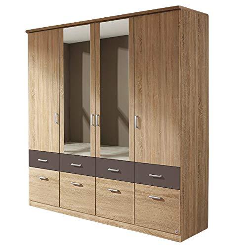 Kleiderschrank grau / weiß 4 Türen B 181 cm eiche sonoma Schrank Drehtürenschrank Wäscheschrank Kinderzimmer Jugendzimmer
