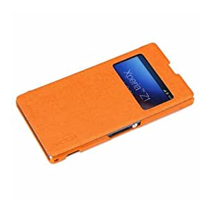 "Etui/housse Sony Xperia Z1 - Rock format folio ""Excel"" fenêtre rabat ultra fin bicolor - Orange"