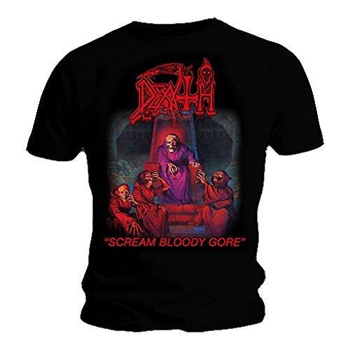 Death-band-t-shirts (T-Shirt mit offiziellem Band-Design: Death Scream Bloody Gore, alle Größen Gr. Large, schwarz)