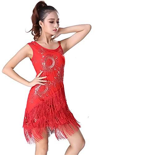 Glänzendes Tanzpartykleid für Frauen, Frauen Dancewear Perlen Blumen Pailletten Fransen Quasten Ballsaal Samba Tango Latin Dance Dress Wettbewerb Kostüme Swing Rumba Kleid Quaste funkelnde - Zeitgenössische Kostüm Unitard