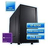 M&M Computer Dresden Professional Silent PC Intel, Intel i7-8700 Prozessor Hexa-Core, 16GB DDR4-RAM 2666MHz, 1TB SSD Festplatte, Marken-Gehäuse gedämmt, Windows 10 Pro, Büro und Bussiness