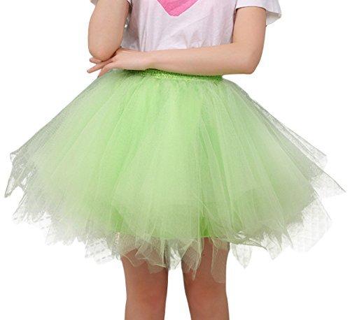 FEOYA Jupe Courte Bal Ballet Tulle en dentelle Costume Tutu Femme Jupon Bouffée Plissé Mini-jupe pour Danse Cosplay Déguisement Elastique Soirée,Vert Fluo,Taille Unique(Tour de taille:60-90cm)