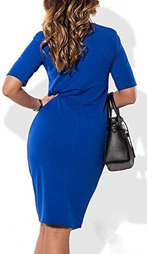Damen Kleid Wickelkleider Freizeitkleid Short Dress Plus Size Einzigen Taste Kurz H¨¹lse Paket H¨¹fte Herbst Normallacks Elegant Blau
