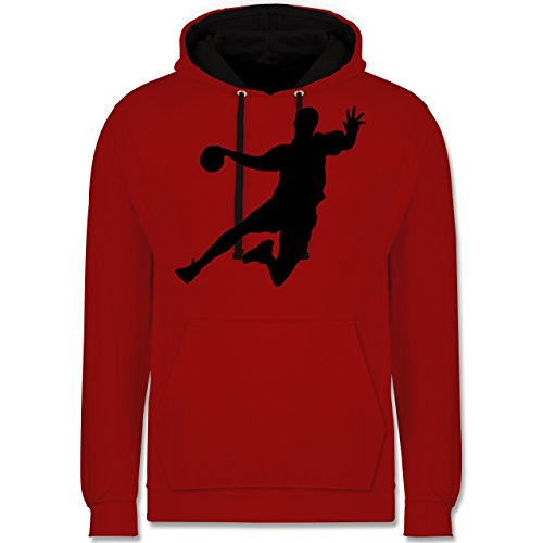Shirtracer Handball - Handball - XL - Rot/Schwarz - JH003 - Kontrast Hoodie