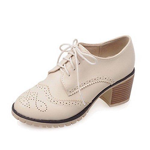 AgooLar Damen Mittler Absatz Rein Schnüren Offener Zehe Pumps Schuhe, Weiß, 42