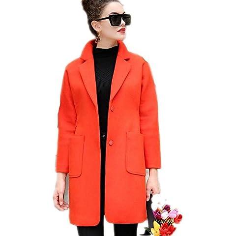 ZZHH Vestido capa de lana de manga larga cinturón color sólido . s