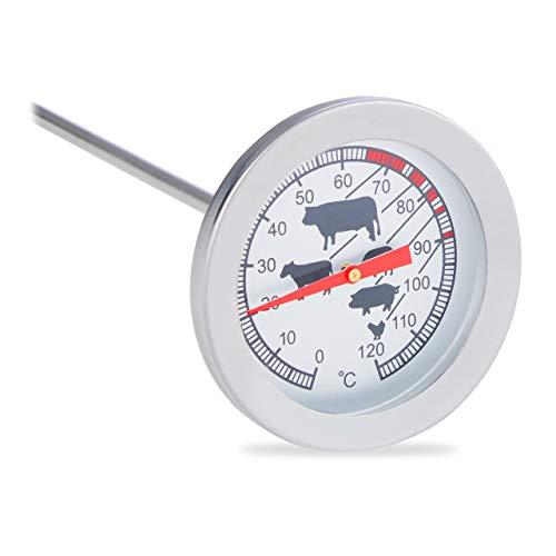 Relaxdays Einstichthermometer analog, Braten Grillthermometer, Edelstahl Fleischthermometer, 20 cm Termómetro...
