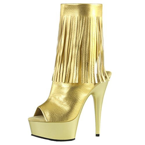 Fransen Stiefelette, Damen, Gold (gold) Gold (Gold)