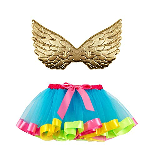 Romantic Halloween Kostüme Kinder Baby Spitze Tutu Rock Mädchen Mehrfarben Tutu Mädchen Festlich Partykleidung Kinder + Goldene Flügel Kinder 2er Set Halloween Karneval Party Cosplay für Kinder (Spice Girls Kostüm Kinder)