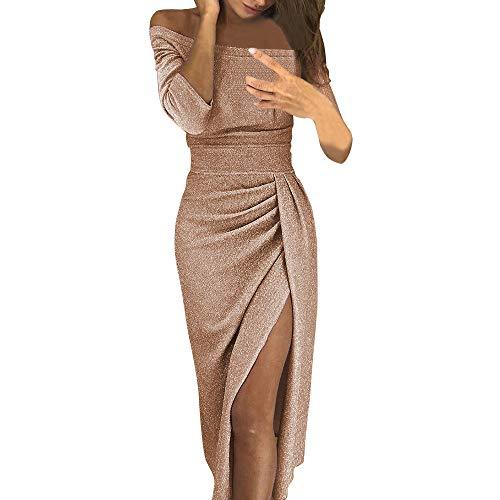 VEMOW Damen Kleid, Heißer Ballkleid Elegante Damen Schulterfrei Langarm Hochschlitz Bodycon Kleider Cocktailkleid(X1-Orange, EU-40/CN-2XL)