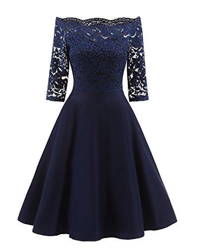 Palazen 50er Jahre Retro Spitzenkleid Elegant Off Schulter Kleid mit Carmenausschnitt Cocktailkleid...