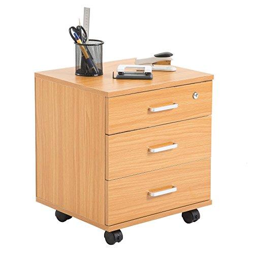 Rollcontainer SATURN Aktenschrank Bürocontainer mit 3 Schubladen in buchefarben, abschließbar