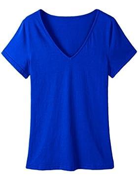 Yeesea Mujer Casual Manga corta Ajustado T-shirts Camiseta Verano V Cuello Sólido Tops Tee