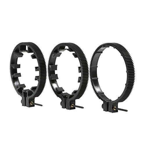Movo FR3 einstellbares 3-teiliges Follow-Focus Getriebeset - Inklusive 65mm, 75mm und 85mm Linsenringe (Standard 32-Pitch - 0,8 mod)