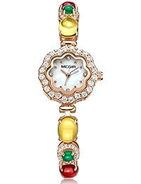 c648de8dab27 Megir Moda Elegante Diseño De Las Mujeres Rhinestones Dial Relojes Correa  Única Reloj De Pulsera A