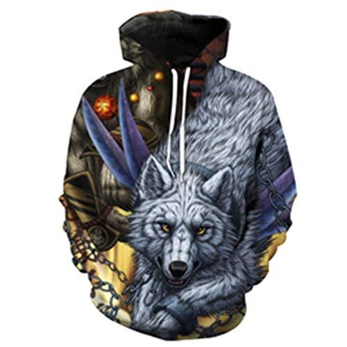 n Stil Mann/Frauen 3D Sportswear Sweatshirt Drucken Wolf Fesseln Langes Haar Hoodies Grey XXL ()