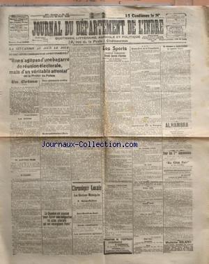 JOURNAL DU DEPARTEMENT DE L'INDRE [No 95] du 26/04/1925 - LE GUET-APENS COMMUNISTE DE LA RUR DAMREMONT - ELECTIONS MUNICIPALES - A. SURTEL - J. PORTIER - J. VILLESANGE - LES SPORTS - ESCRIME - CONFERENCE SUR LA POLOGNE - MME GILARD - SAGE-FEMME - UN SQUELETTE HUMAIN DECOUVERT A SAINTE-LIZAIGNE - M. JEAN TRECHAUD - M. HENRI SICART par Collectif