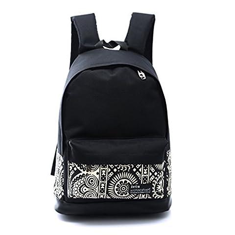 QHGstore Segeltuch-Rucksack-Tasche Niedliche Leichte Rucksäcke für Teenager Junge Mädchen Schwarz + Weiss