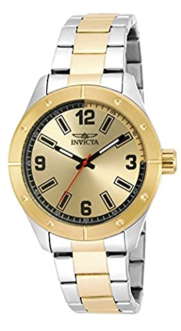 Invicta Men's Quartz Watch with Gold Dial Analogue Display and Two Tone Stainless Steel Gold Plated Bracelet