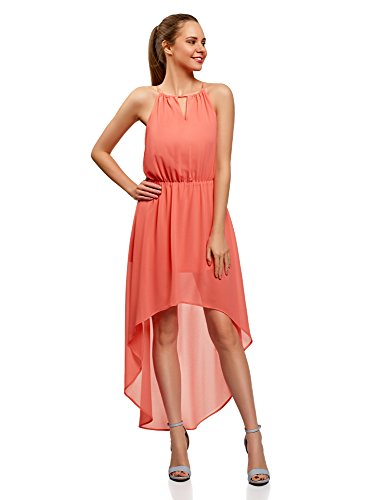 (oodji Ultra Damen Kleid aus Leichtem Stoff mit Asymmetrischem Saum, Rosa, DE 36 / EU 38 / S)