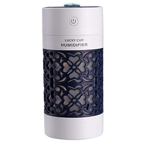 TOOGOO Humidificador De Aire Portatil De Coche USB Difusor De Aromaterapia Ultrasonica con Ventilador Led 3 En 1 Mini Difusor De Aceite Esencial Multifuncion (Azul Oscuro)
