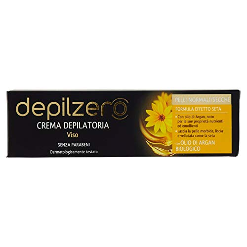 Depilzero Viso, Crema Depilatoria Viso, all'Olio di Argan, 50 ml