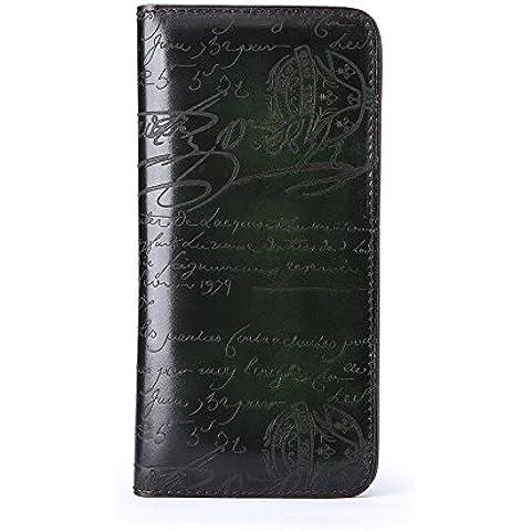 Monedero de cuero rotulación personalizada hombres de traje fino cuero billetera zip grande alrededor de la chaqueta de cuero juvenil bolso monedero,verde