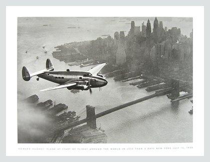 Howard Hughes Plane at Start of Flight Poster Kunstdruck mit Alu Rahmen in Silber matt -