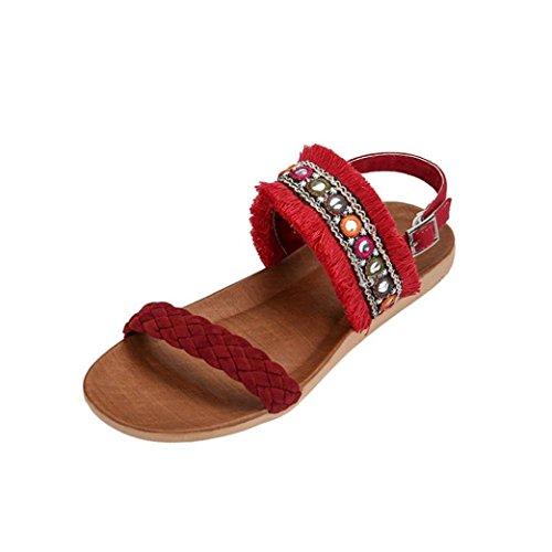 9e19b1ad9c2d1 ✿☀Summer Bohemian Gland Tresse Sandales Plates✿☀Lolittas Noir Beige Rouge  Femmes BohêMe Frangé Ceinture TisséE AntidéRapante Plage Chaussures  Peep-Toe ...