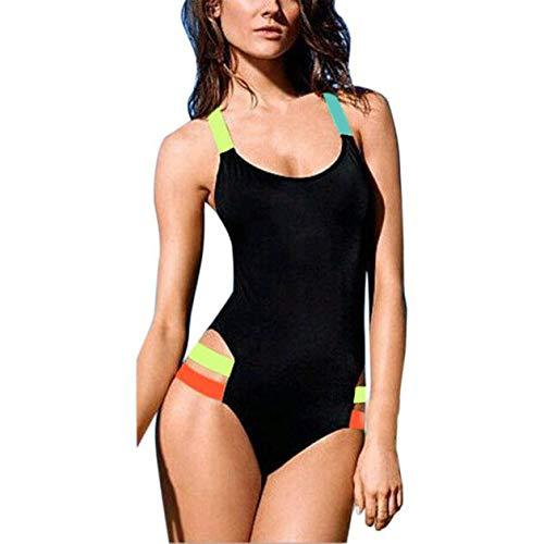 LEEDY Bikini Intero Sportivo da Donna, Costume da Bagno da Spiaggia a Incrocio Posteriore Casual