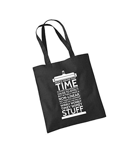 -- Time Stuff -- Baumwolltasche Schwarz