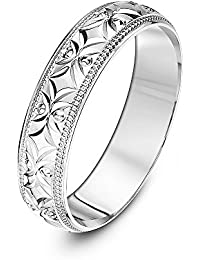 Theia 9 ct Yellow or White Gold, Flower like Design with Millgrain/Beaded Edges, Polished, 5-7 mm Wedding Ring