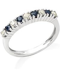 Miore - Bague femme - Or blanc 375/1000 (9 carats) 2.26 gr - Saphir et diamant 0.26 cts
