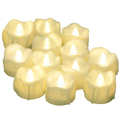 LED Kerzen mit Timerfunktion, 12er-Pack PChero Batteriebetriebene LED-Kerzen, 6 Stunden An und 18 Stunden Aus - [Weiß (Leicht Warm)] (Outdoor-leuchte Neue)