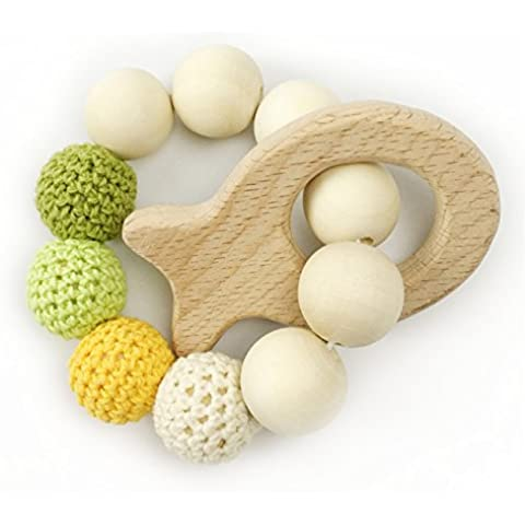 Bebé mordedores bebé pulsera de madera natural anillo de dentición de enfermería de los granos de ganchillo juguetes para bebés Sonajero Mordedor