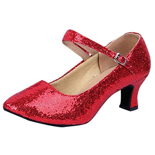 BHYDRY Mid-High Tacchi Glitter Scarpe da Ballo Donne Danza Latina Tango Rumba Scarpe da Ballo(39EU,Rosso)
