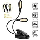 Lampe de Lecture Clipsable 14 LEDs 3 Couleurs 9 Modes Luminosité Réglable, Lampe...