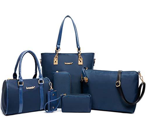 FiveloveTwo Damen Nylon 6-teiliges Schultertaschen Set Shopper Umhängetasche Geldbeutel Tote Taschen Henkeltaschen Clutches Geldbörsen Schlüsselhalter Shoulder Bag Blau